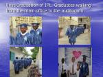 first graduation of ipl graduates walking from the main office to the auditorium