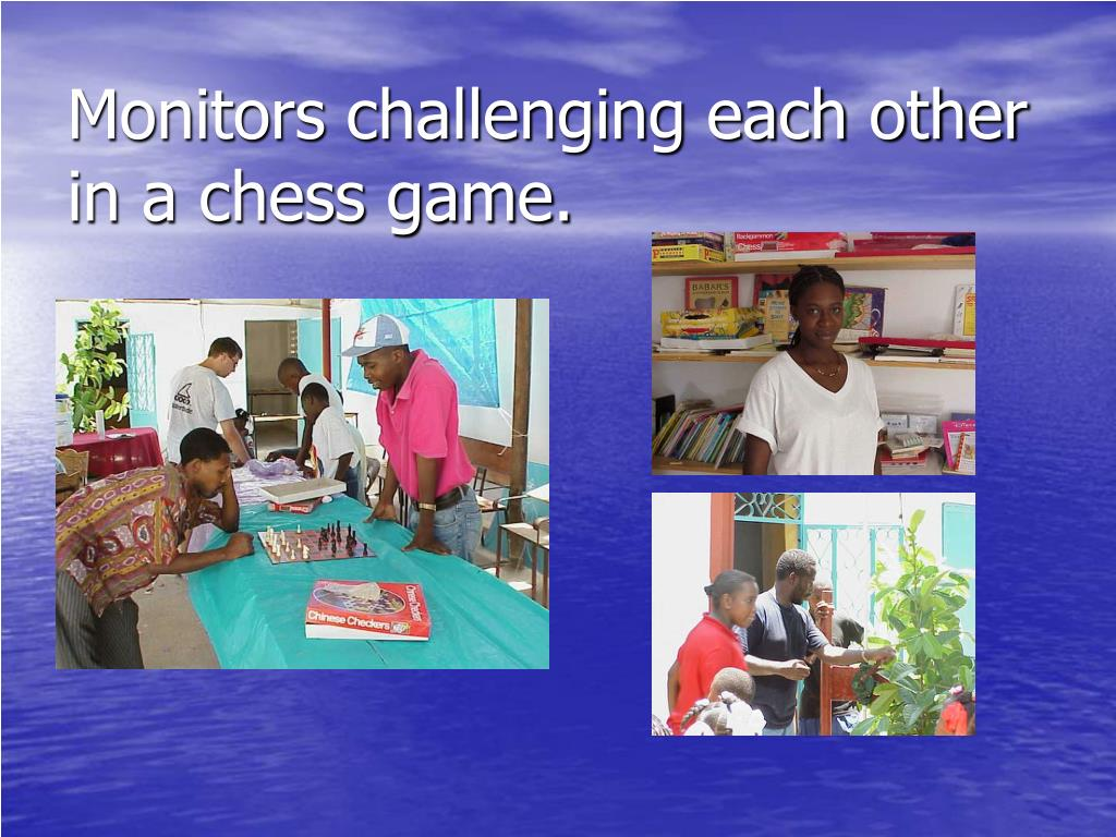 Monitors challenging each other in a chess game.