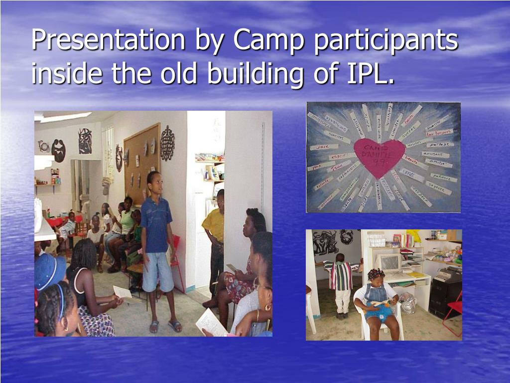 Presentation by Camp participants inside the old building of IPL.