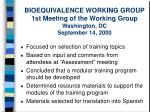 bioequivalence working group 1st meeting of the working group washington dc september 14 2000