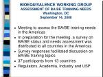 bioequivalence working group assessment of ba be training needs washington dc september 14 2000