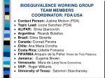 bioequivalence working group team members coordinator fda usa