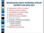 bioequivalence working group workplan 2000 2001