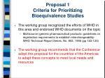 proposal 1 criteria for prioritizing bioequivalence studies13