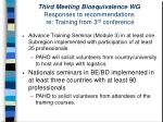 third meeting bioequivalence wg responses to recommendations re training from 3 rd conference30