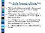 third meeting bioequivalence working group update of training activities