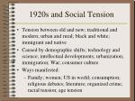 1920s and social tension