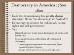 democracy in america 1760s 1800