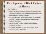 development of black culture in slavery37