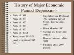 history of major economic panics depressions