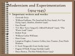 modernism and experimentation 1914 1945229