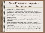 social economic impacts reconstruction