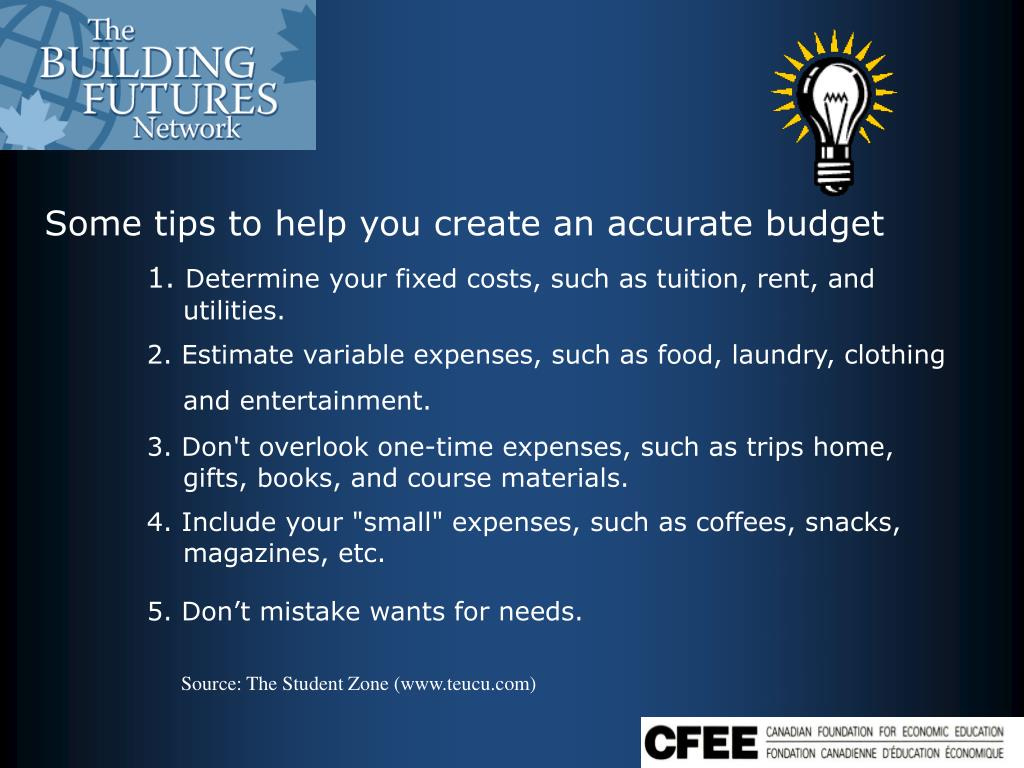 Some tips to help you create an accurate budget