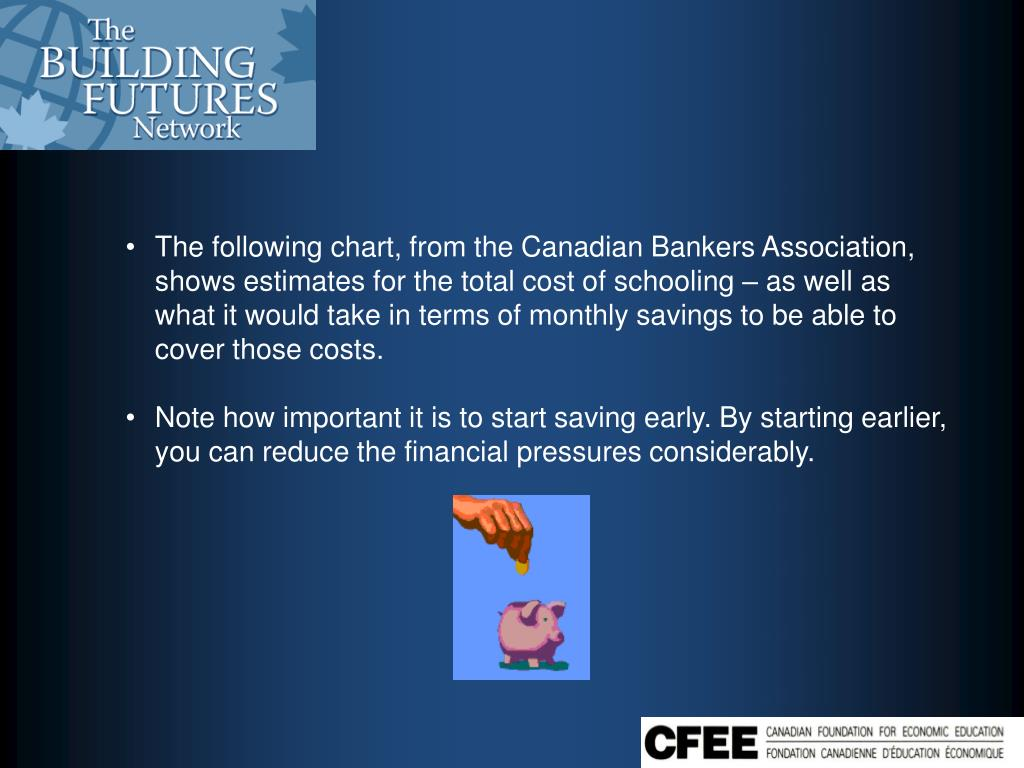The following chart, from the Canadian Bankers Association, shows estimates for the total cost of schooling – as well as what it would take in terms of monthly savings to be able to cover those costs.
