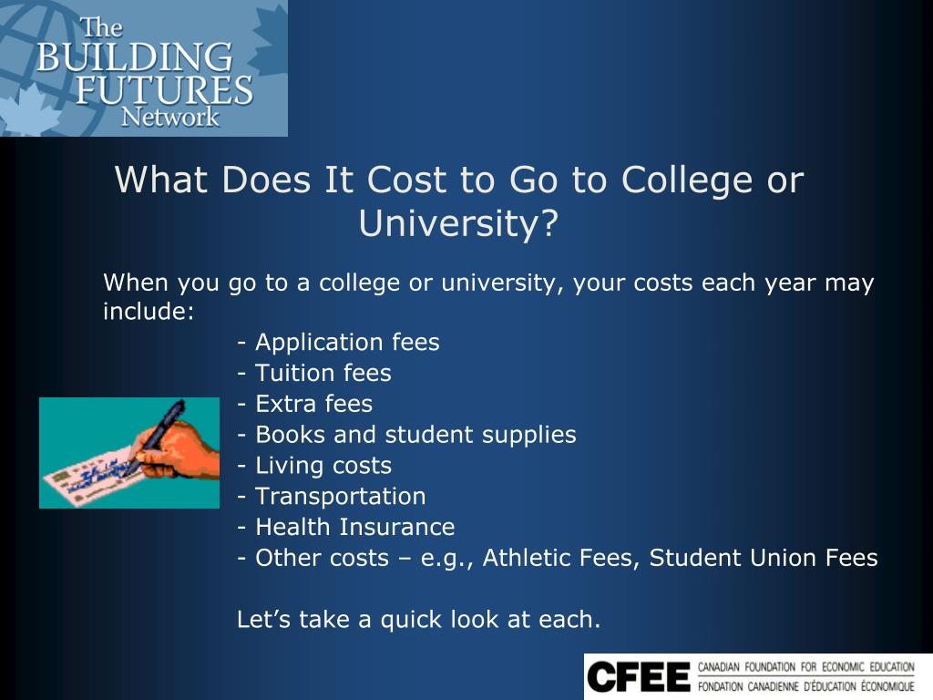 When you go to a college or university, your costs each year may include: