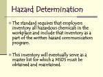hazard determination