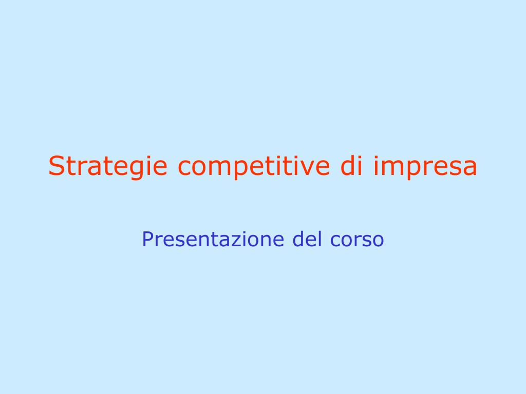 strategie competitive di impresa l.
