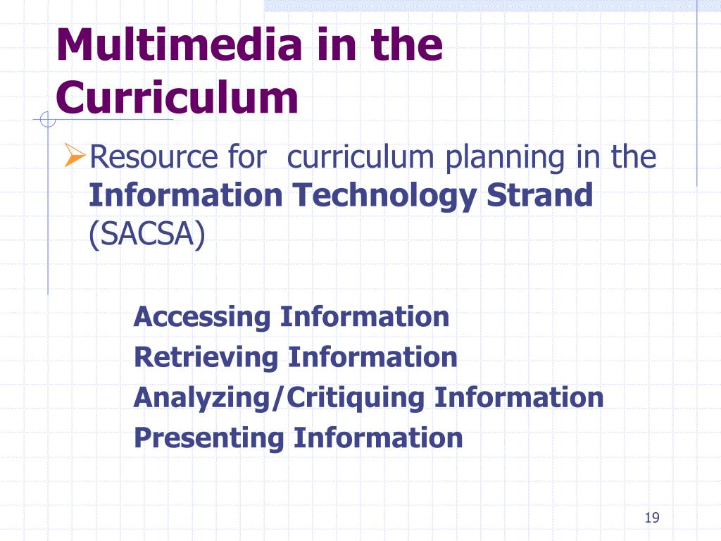 Multimedia in the Curriculum