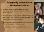 frequently talked about recommendations