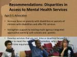 recommendations disparities in access to mental health services70