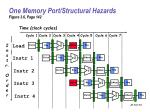 one memory port structural hazards figure 3 6 page 142