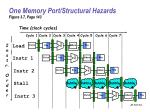 one memory port structural hazards figure 3 7 page 143