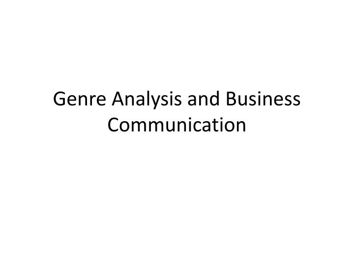 genre analysis and business communication n.