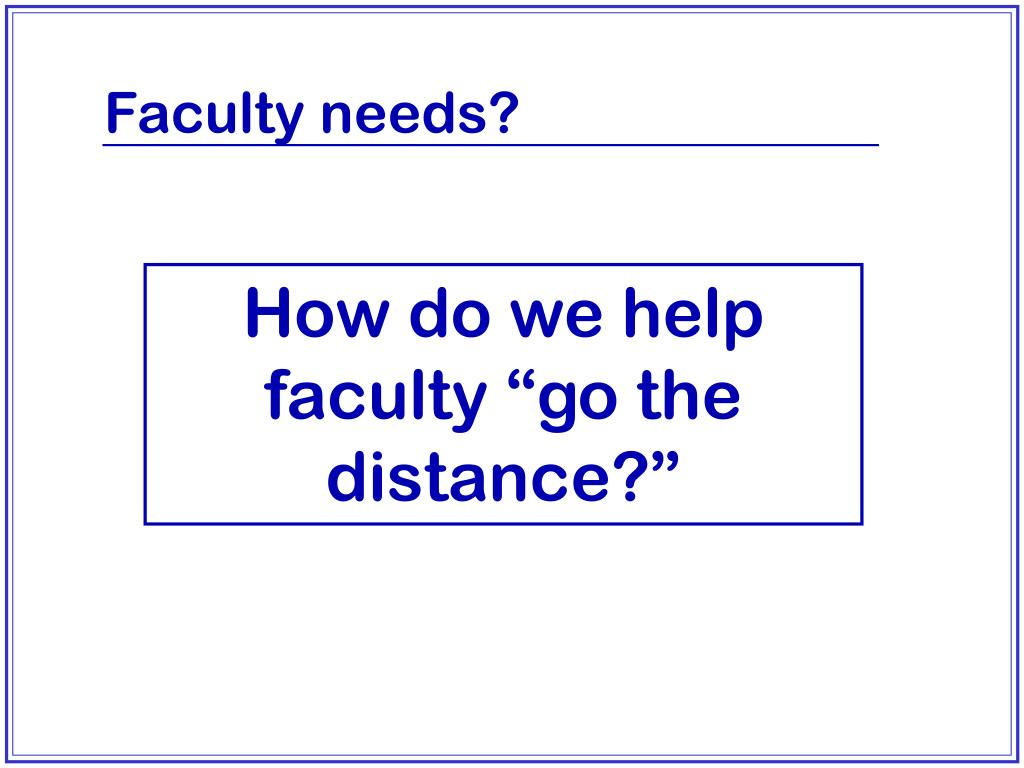 Faculty needs?