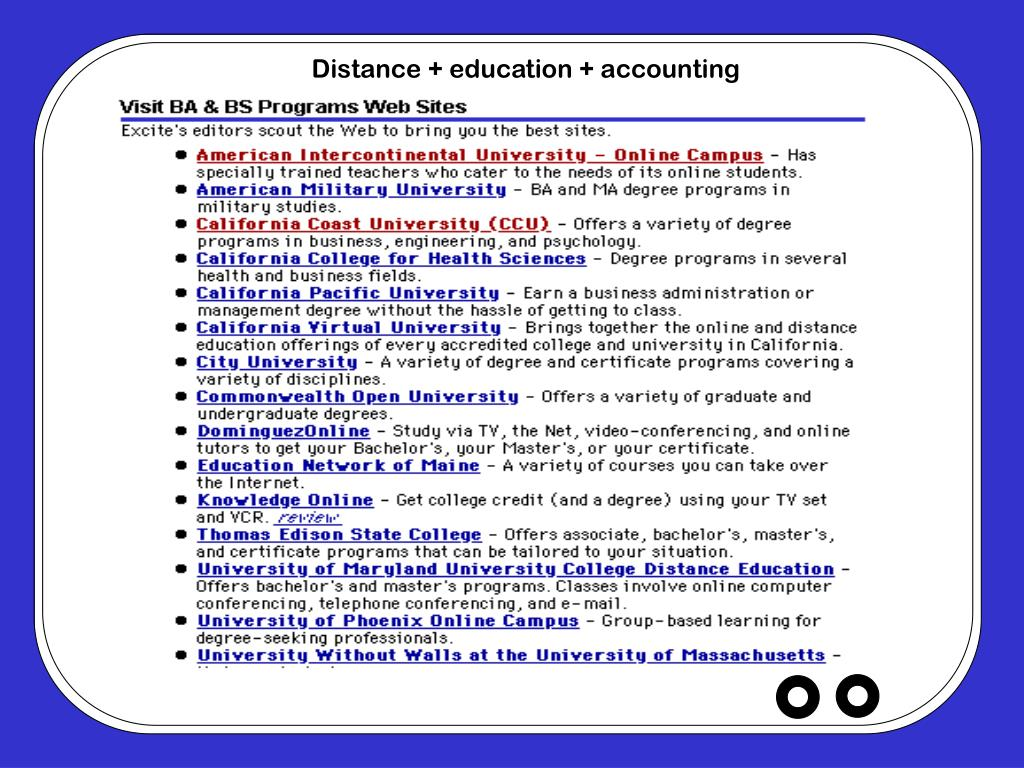 Distance + education + accounting