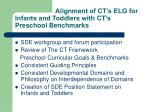 alignment of ct s elg for infants and toddlers with ct s preschool benchmarks
