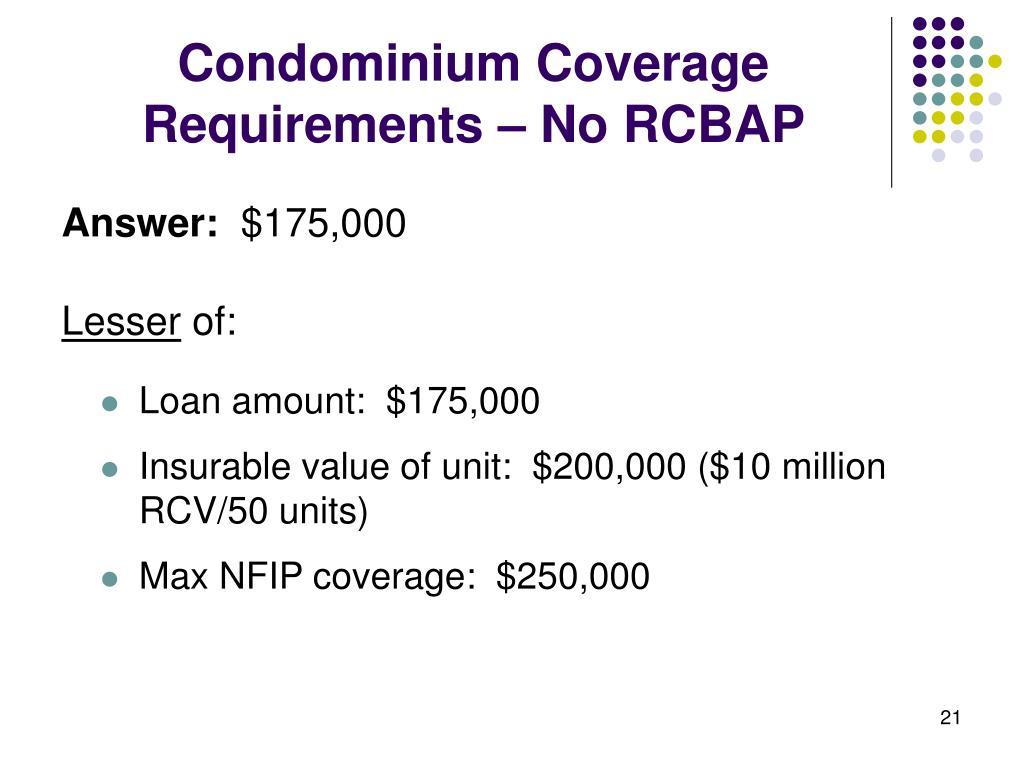 Condominium Coverage Requirements – No RCBAP