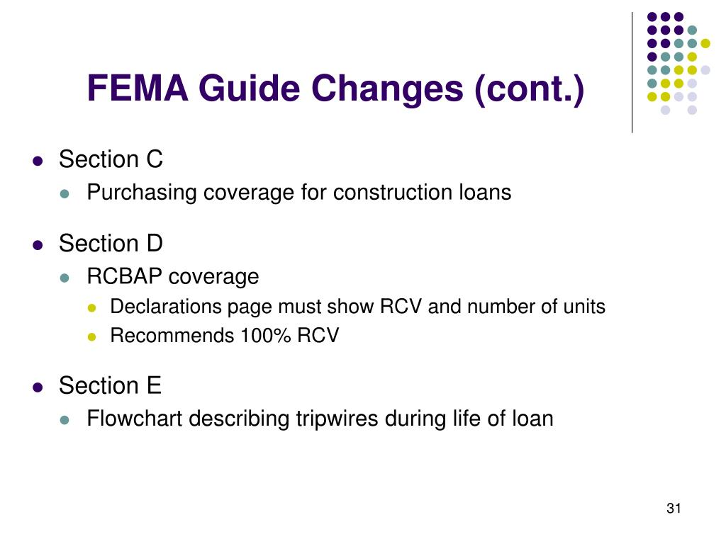 FEMA Guide Changes (cont.)