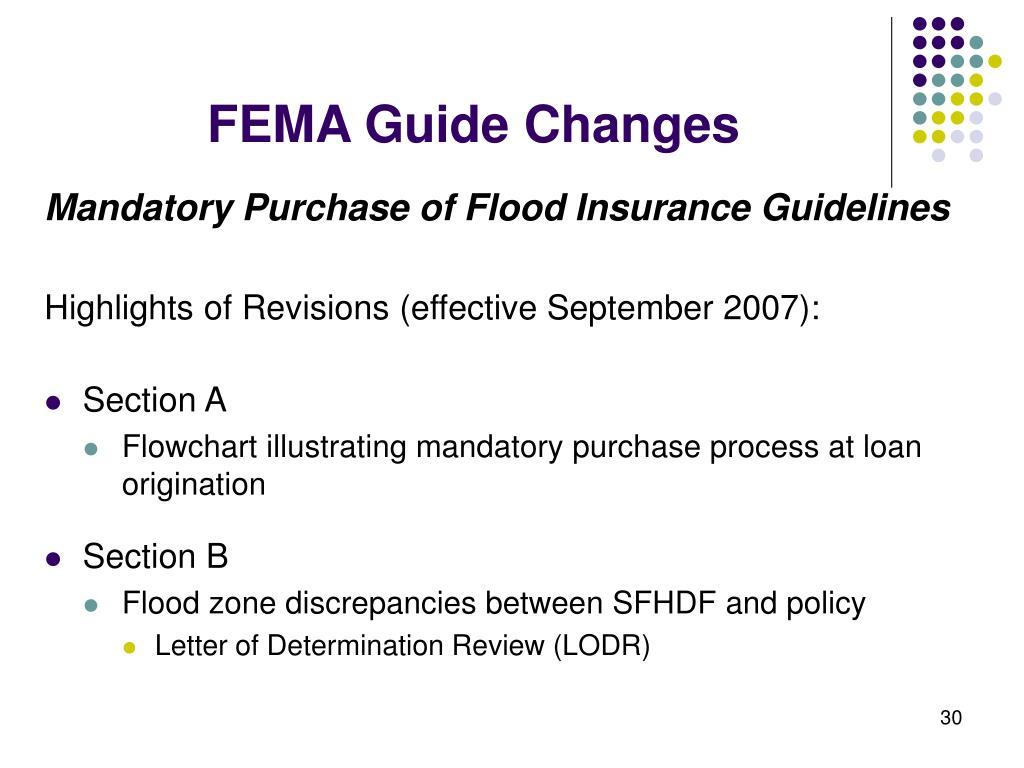 FEMA Guide Changes
