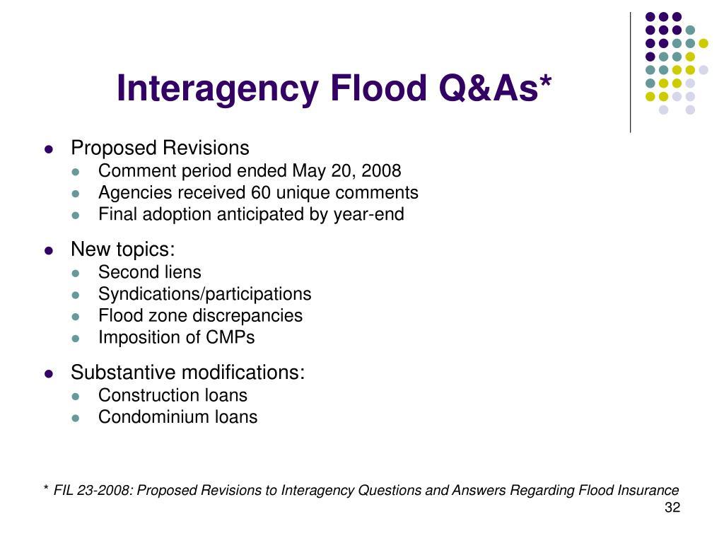Interagency Flood Q&As*