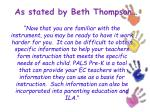 as stated by beth thompson