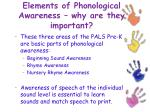 elements of phonological awareness why are they important