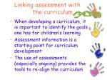 linking assessment with the curriculum