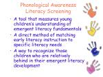 phonological awareness literacy screening