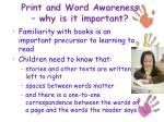 print and word awareness why is it important