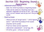 section iii beginning sound awareness