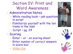 section iv print and word awareness