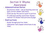 section v rhyme awareness