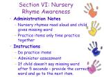 section vi nursery rhyme awareness