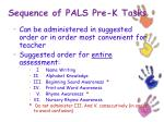 sequence of pals pre k tasks