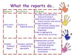 what the reports do