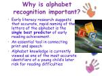 why is alphabet recognition important