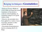 kriging techniques geostatistics