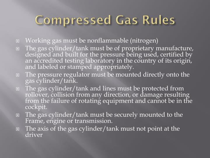 Compressed gas rules