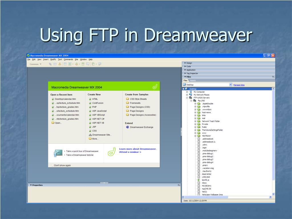 Using FTP in Dreamweaver