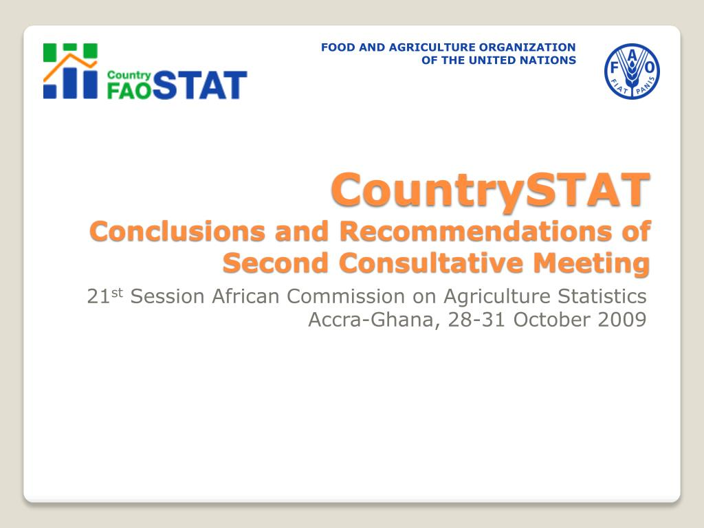 countrystat conclusions and recommendations of second consultative meeting l.